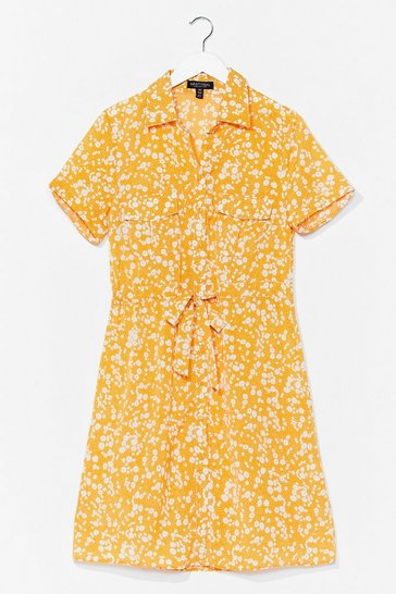 Yellow Dry Those Tiers Floral Shirt Dress