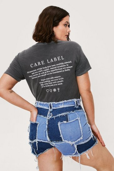 Grey Take Care Relaxed Plus Graphic Tee