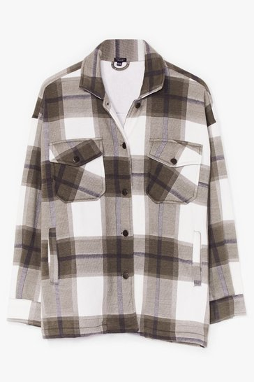 Khaki PLUS SIZE CHECK SHACKET