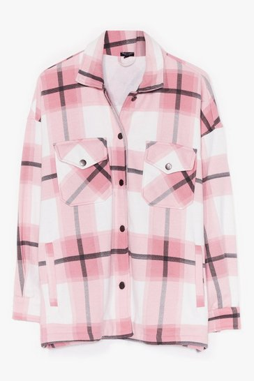 Pink PLUS SIZE CHECK SHACKET