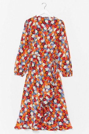 Orange Seed the Way Floral Wrap Dress