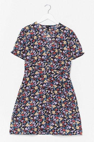 Black V Through Me Floral Mini Dress