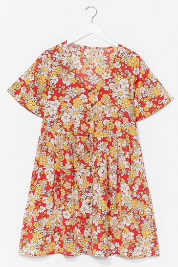 Orange Grow Get 'Em Floral Button-Down Dress
