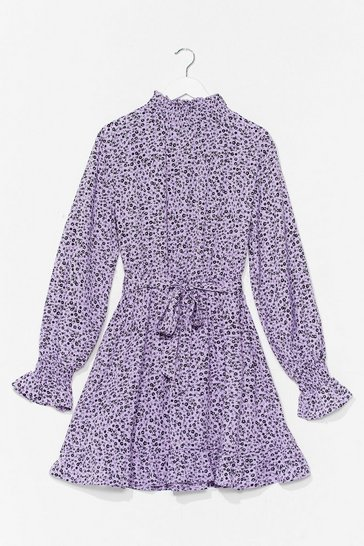 Lilac Flower Down Your Love High Neck Mini Dress