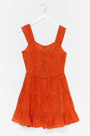 Orange Button-Down TF Tiered Mini Dress