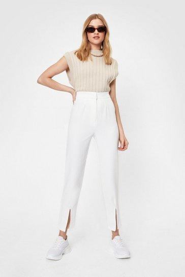 Ivory Splitting Hairs High-Waisted Pants