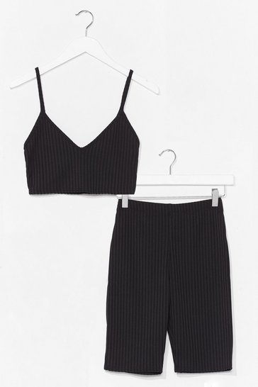 Black To the Top Cropped Top and Biker Shorts Set
