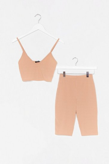 Sand To the Top Cropped Top and Biker Shorts Set