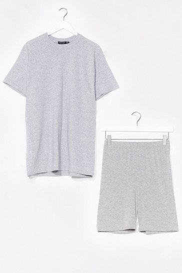 Grey marl Sofa Surfin' Oversized Tee and Shorts Set