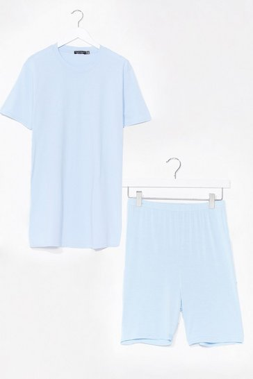 Light blue Sofa Surfin' Oversized Tee and Shorts Set
