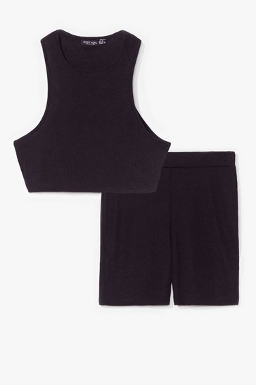 Black Racer neck with cycling short co ord set
