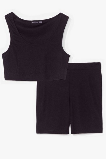 Black Keep It Together Crop Top and Biker Shorts Set