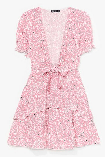 Baby pink Tie Front Floral Smock Dress