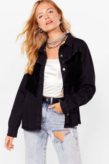 Washed black Western Fringe Denim Jacket