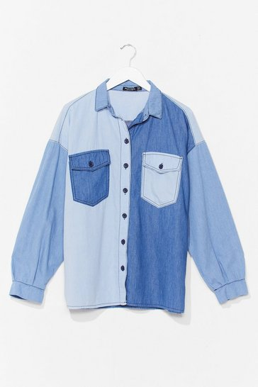 Blue Oversized Two Tone Denim Shirt