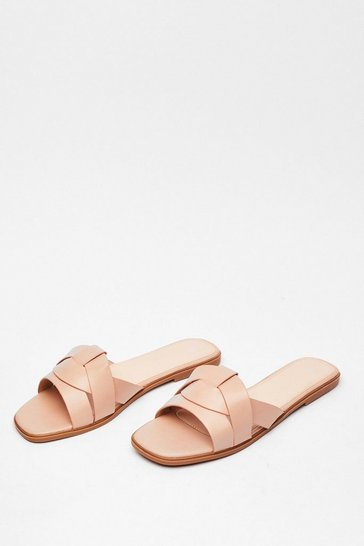 Beige Back Flat It Faux Leather Sandals