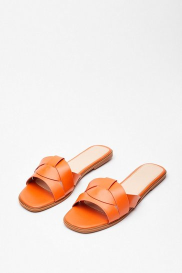 Orange Back Flat It Faux Leather Sandals