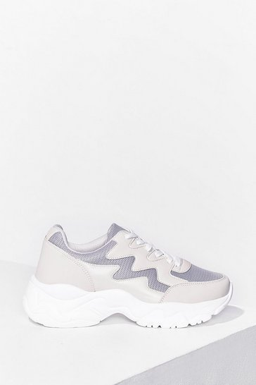 Beige Running Errands Faux Leather Chunky Sneakers