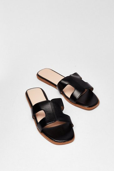 Black Cut-Out About Town Faux Leather Sandals