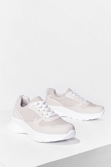 Beige We're On Our Way Mesh Chunky Sneakers