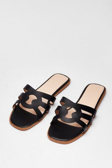 Black Make Moves Cut-Out Flat Sandals
