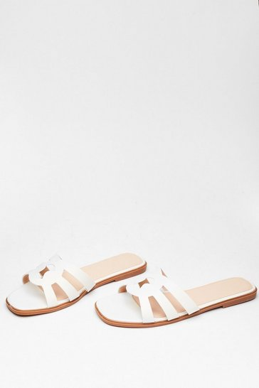White Make Moves Cut-Out Flat Sandals