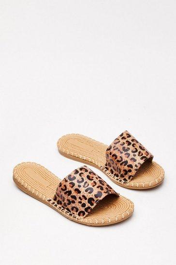 Beige You Better Run Leopard Sandals