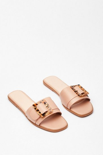 Beige Hold Up Flat Buckle Sandals