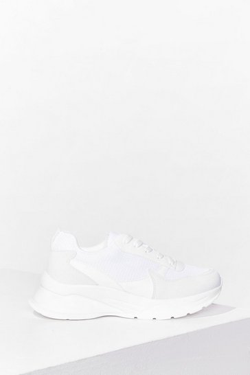 White Chunky Sole Runner Style Sneakers