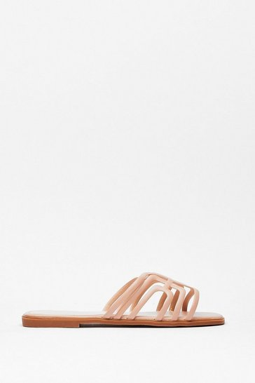 Beige A Fine Line Cut-Out Flat Sandals