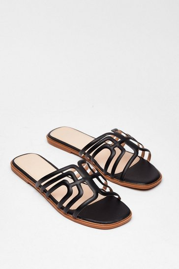 Black A Fine Line Cut-Out Flat Sandals