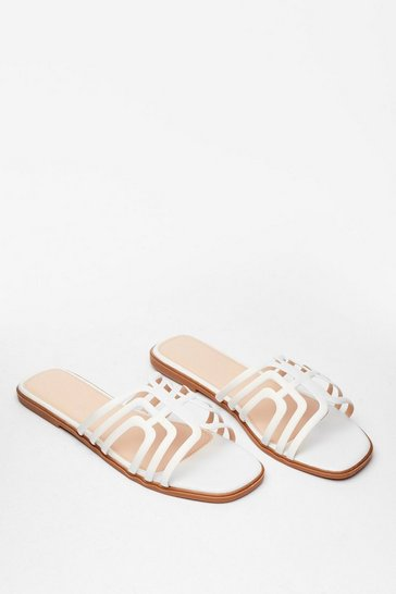 White A Fine Line Cut-Out Flat Sandals