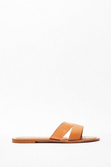 Beige Slip of the Tongue Croc Sandals