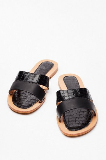Black Slip of the Tongue Croc Sandals