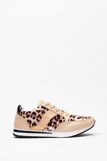 White Cat Nap Leopard Glitter Trainers