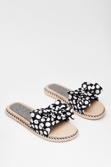 Black Brunch Run Satin Polka Dot Sliders