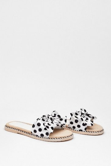 White Brunch Run Satin Polka Dot Sliders