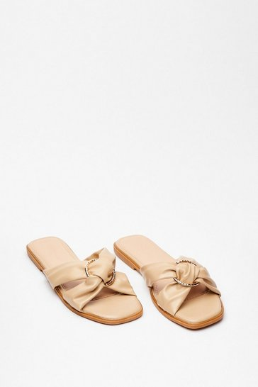 Beige We're Going in Circles Criss Cross Flat Sandals