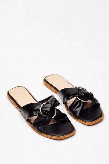 Black We're Going in Circles Criss Cross Flat Sandals