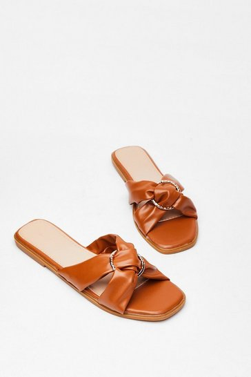 Tan We're Going in Circles Criss Cross Flat Sandals