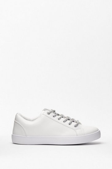 White Dancing Shoes Faux Leather Sneakers