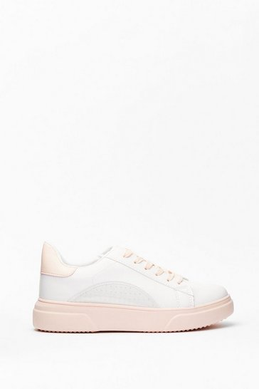 Nude Run This Town Faux Leather Two-Tone Sneakers