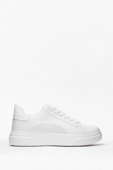 White Run This Town Faux Leather Two-Tone Sneakers