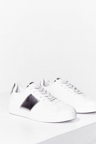 Silver Mirror Mirror Metallic Side Sneakers