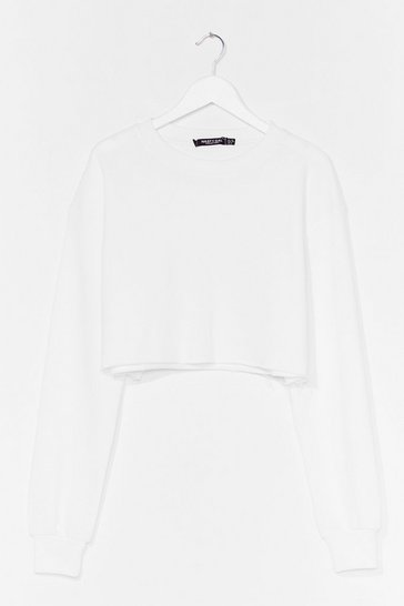 White Take Your Pick Cropped Lounge Sweater