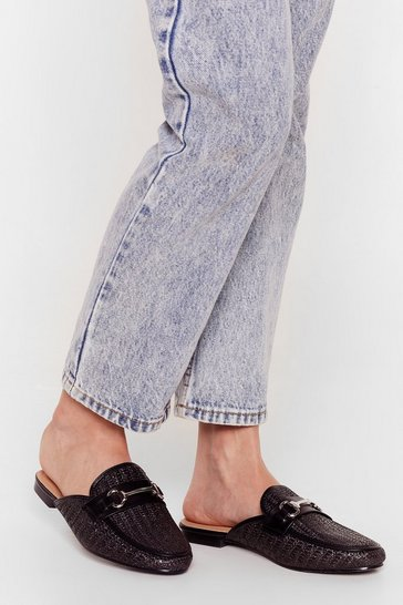Black Mule Be Mine Woven Flat Mules