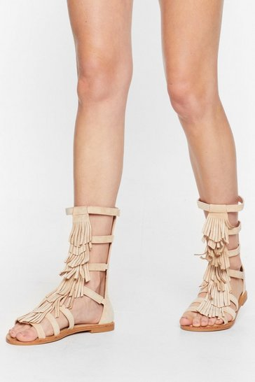 Beige A-Frayed So Faux Suede Fringe Sandals
