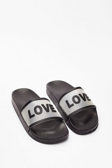 Black Love Slide Chunky Graphic Sliders
