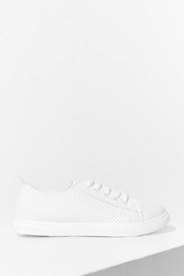 White Perforated Side Panel Lace Up Plimsolls