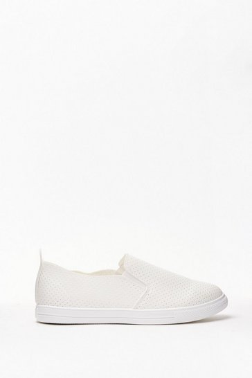 White Perforated Slip On Sneakers